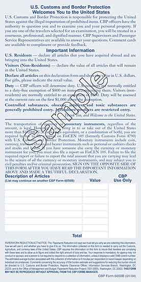 Sample view of front page of U.S. Customs and Border Protection Declaration Form